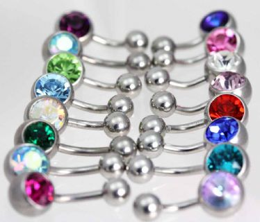 Single Jewelled Navel Bars Stainless Steel
